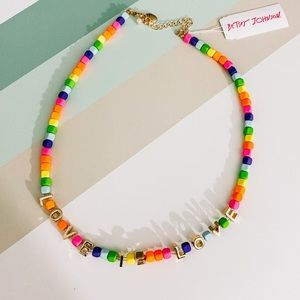 NEW Betsey Johnson Love is Love Beaded Necklace